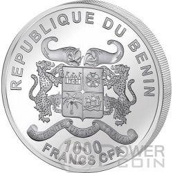 GOAT Haptic Perception Goatskin Lunar Year Chinese Zodiac 1 Oz Silber Münze 1000 Francs Benin 2015