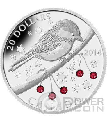CHICKADEE Swarovski Winter Berry 1 oz Silver Proof Coin 20$ Canada 2014