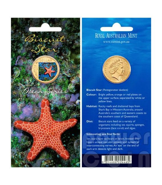 BISCUIT STARFISH OCEAN SERIES Moneda 1$ Australia 2007