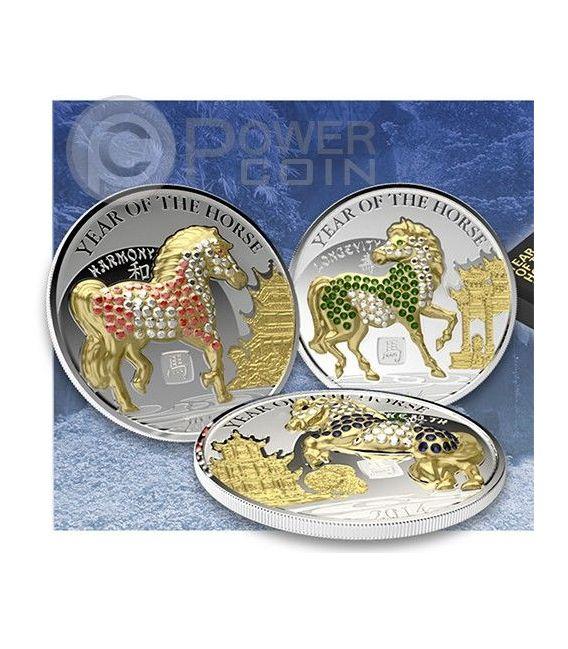 CAVALLO PAVE 3D Horse Lunar Year Set 3 Monete Argento 500 Franchi Ruanda 2014