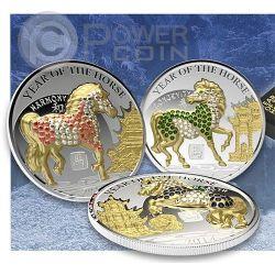 HORSE PAVE 3D Lunar Year 3 Silber Münze Set 500 Francs Rwanda  2014