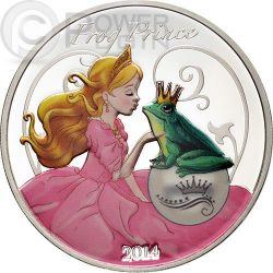 FROG PRINCE Fairy Tales 1 oz Plata Proof Moneda 1000 Francs Benin 2014