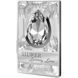 SILVER LUXURY LINE II White Swarovski Silver Proof Coin 100 grams 20$ Cook Islands 2013