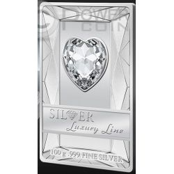 LUXURY LINE Red Illumination Swarovski Silber Proof Münze 100 grams 20$ Cook Islands 2014