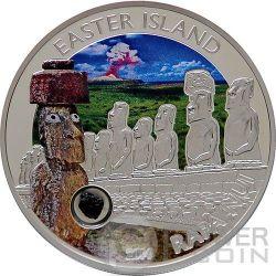 EASTER ISLAND RAPA NUI MOAI Isola di Pasqua Lava Moneta Argento 5$ Cook Islands 2014