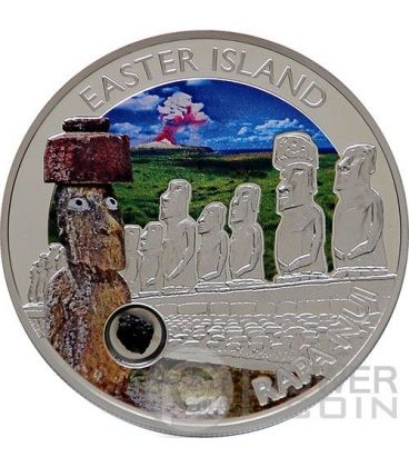 EASTER ISLAND RAPA NUI MOAI Isla De Pascua Lava Silver Coin 5$ Cook Islands 2014