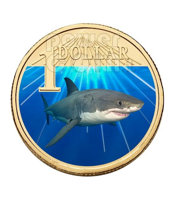 WHITE SHARK OCEAN SERIES Münze 1$ Australia 2007