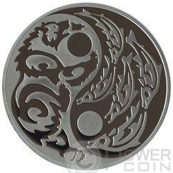 GRIZZLY SALMON Predator Prey Yin Yang Palladium Silber Münze 5$ Cook Islands 2015