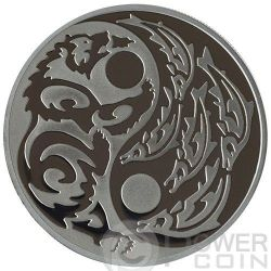 GRIZZLY SALMON Predator Prey Yin Yang Palladium Silver Coin 5$ Cook Islands 2015