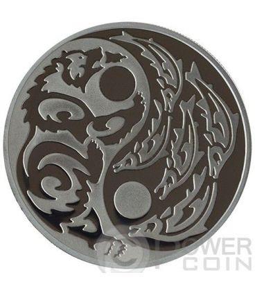 GRIZZLY SALMON Predator Prey Yin Yang Palladium Silver Coin 5$ Cook Islands 2015
