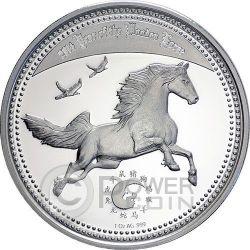 WOODEN HORSE Lunar Year Cavallo Yin Yang Moneta Argento 1000 Franchi Camerun 2014