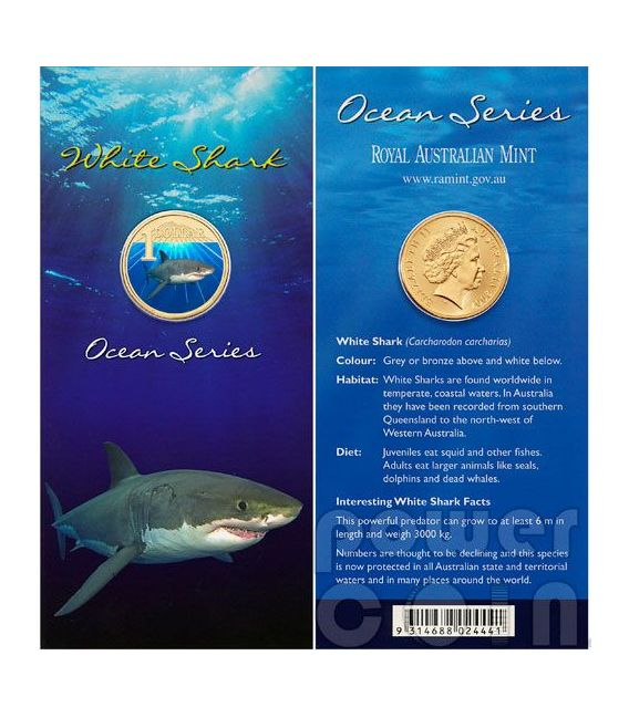 WHITE SHARK OCEAN SERIES Coin 1$ Australia 2007