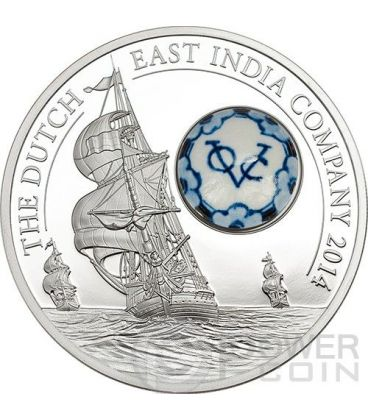 ROYAL DELFT Dutch East India Company Porcelain Silver Coin 10$ Cook Islands 2014