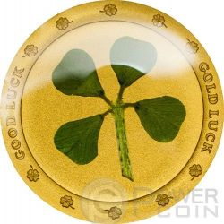 QUADRIFOGLIO Four Leaf Clover Porta Fortuna Moneta Oro Puro 999 1$ Palau 2014