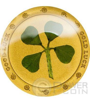 QUADRIFOGLIO Four Leaf Clover Porta Fortuna Moneta Oro 1$ Palau 2014