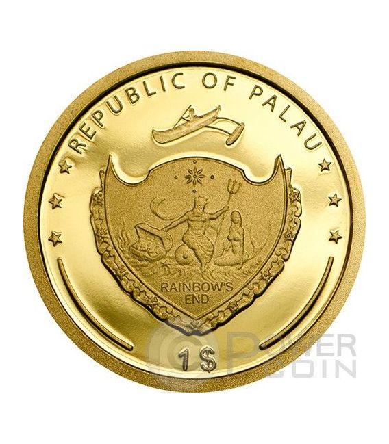 FOUR LEAF CLOVER Good Luck Oro Moneda 1$ Palau 2014
