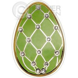 IMPERIAL EGGS GREEN Diamond Easter Cloisonne Faberge Silver Coin 5$ Cook Islands 2015