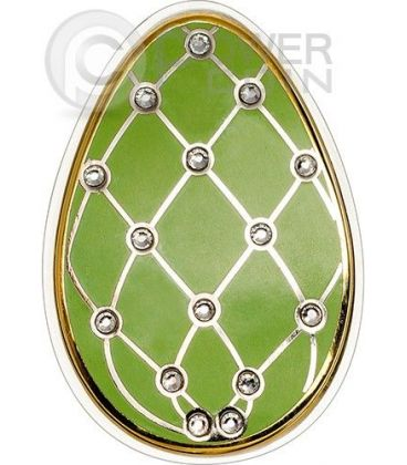 UOVA IMPERIALI VERDE Diamond Easter Cloisonne Faberge Moneta Argento 5$ Cook Islands 2015