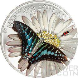 BUTTERFLY 3D Exotic Butterflies Moneda Plata 1000 Francs Equatorial Guinea 2015