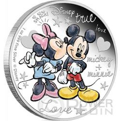 CRAZY IN LOVE Topolino Minni Bacio Amore Disney 1 Oz Moneta Argento 2$ Niue 2015