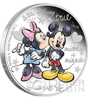 CRAZY IN LOVE Topolino Minni Bacio Amore Disney 1 Oz Moneta Argento 2$ Niue 2015