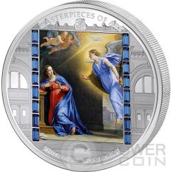 ANNUNCIATION Philippe De Champaigne Christmas Masterpieces of Art 3 Oz Silver Coin 20$ Cook Islands 2014