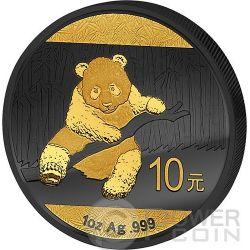 GOLDEN ENIGMA Panda Black Ruthenium 1 Oz Moneda Plata 10 Yuan China 2014