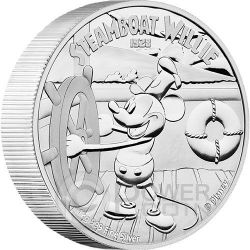 STEAMBOAT WILLIE Topolino Mickey Mouse Disney 1 Kg Kilo Moneta Argento 100$ Niue 2015