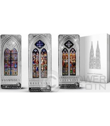 WINDOWS OF HEAVEN GIANTS Set Cattedrale Colonia 3 Monete Argento 20$ Cook Islands 2014