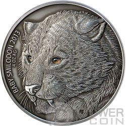 BABY SMILODON Real Eye Animali Preistorici Moneta Argento 4 Oz 5000 Franchi Burkina Faso 2013