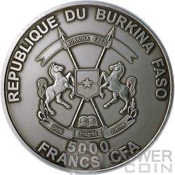 BABY SMILODON Real Eye Saber Toothed Tiger 4 Oz Silver Coin 5000 Francs Burkina Faso 2013