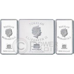 DRESDEN Triptych Jan Van Eyck 3 Moneda Plata Set 1$ 2$ Tokelau 2014