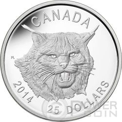 LINCE Lynx Wildlife Alti Rilievi Moneta Argento 25$ Canada 2014