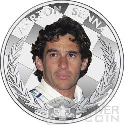 AYRTON SENNA Formula One World Champion Anniversary 1 oz Серебро Монета 2$ Ниуэ 2014