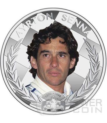 AYRTON SENNA Campione Formula Uno Anniversario Moneta Argento 2$ Niue 2014