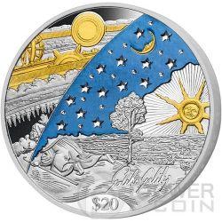 GALILEO GALILEI 450th Anniversary Signature Swarovski 1 Kg Kilo Silver Coin 20$ Fiji 2014