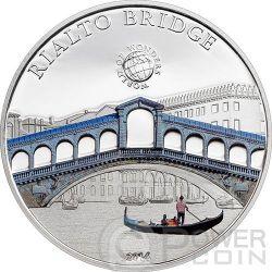 RIALTO BRIDGE Venice World Of Wonders 5$ Silver Coin Palau 2014