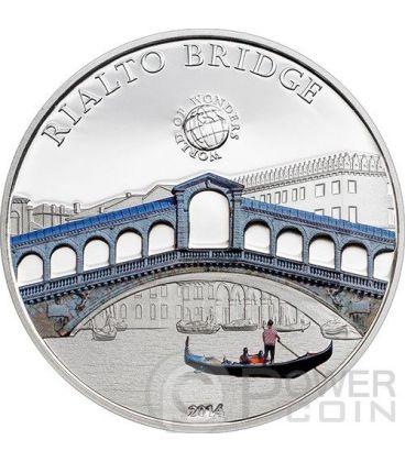 PONTE DI RIALTO Venezia World Of Wonders Moneta Argento 5$ Palau 2014