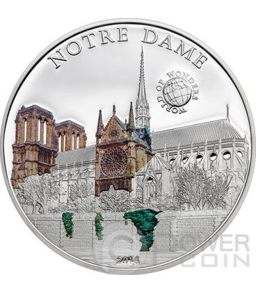 NOTRE DAME Cathedral World Of Wonders 5$ Silver Coin Palau 2014
