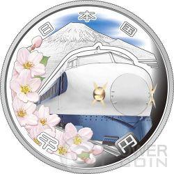 SHINKANSEN Train 50th Anniversary Серебро Proof Монета 1000 Ен Япония 2014