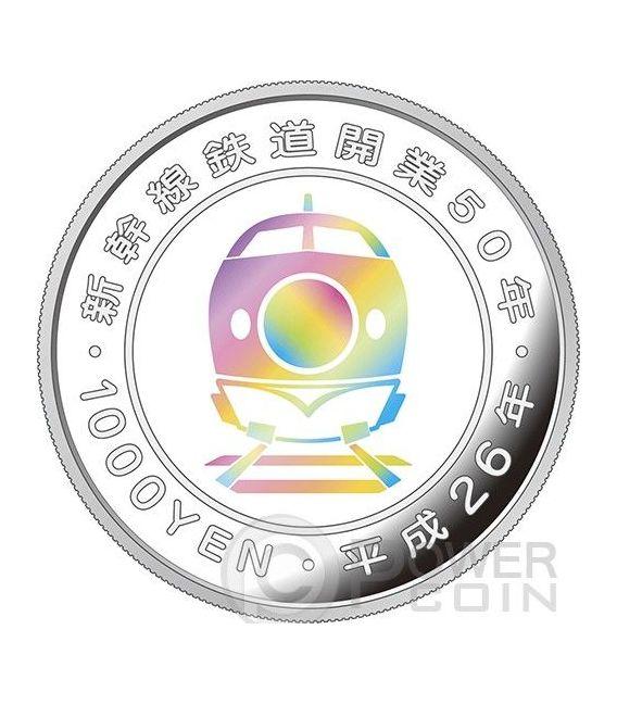 SHINKANSEN Train 50th Anniversary Silber Proof Münze 1000 Yen Japan 2014
