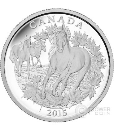 CANADIAN HORSE Cavallo Mezzo 1/2 Kilo Kg Moneta Argento 125$ Canada 2015