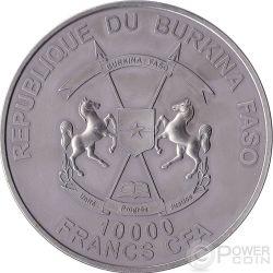 SMILODON Animali Preistorici Moneta Argento 1 Kg Kilo 10000 Franchi Burkina Faso 2013