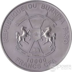 SMILODON Saber Toothed Tiger Prehistoric Animals 1 Kg Kilo Silver Coin 10000 Francs Burkina Faso 2013