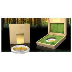 MAPLE LEAF 3D Foglia Gold Leaf Collection Moneta Argento Oro 1oz 10$ Samoa 2014
