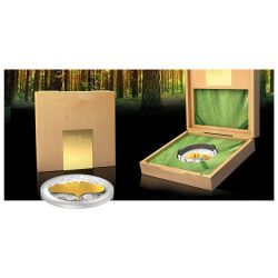 GINKGO LEAF 3D Gold Leaf Collection 1 Oz Silver Coin 10$ Samoa 2014