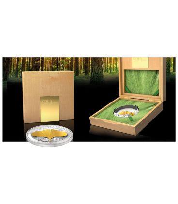 GINKGO LEAF 3D Foglia Gold Leaf Collection Moneta Argento Oro 1oz 10$ Samoa 2014