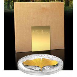 GINKGO LEAF 3D Oro Leaf Collection 1 Oz Moneda Plata 10$ Samoa 2014