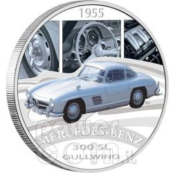 MERCEDES 300SL GULLWING Sports Cars Silber Münze 1$ Tuvalu 2006