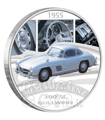MERCEDES 300SL GULLWING Auto Moneta Argento 1$ Tuvalu 2006